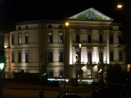 Campus Universitario oscense. Entorno Rio Isuela. Vista nocturna desde La Porteta. Vista nueva.