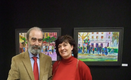 Con Maria José Chinestra en su exposición de pintura.