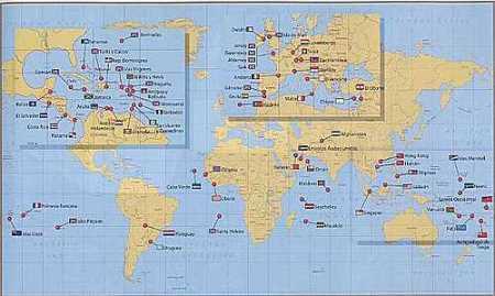 Mapa de los paraisos fiscales a escala internacional.