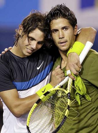 Rafa Nadal y Fernando Verdasco, ayer en el Abierto de Australia.