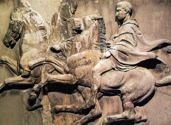 Escena de la retirada de los mercenarios griegos en un bajorrelieve que se encuentra en el British Museum.