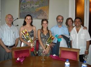 Con Ana Valero y Aniana Jaime, en el Casino de Huesca.